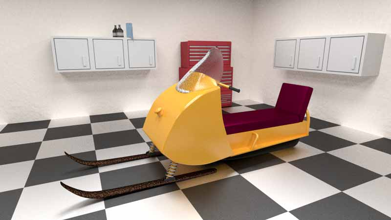 Cycles Rendered Image of a ski-doo snowmobile